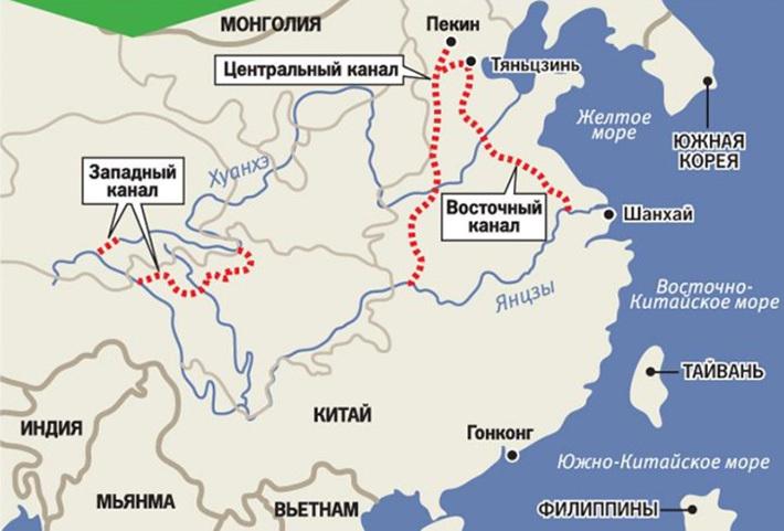 Карта новых каналов Китая