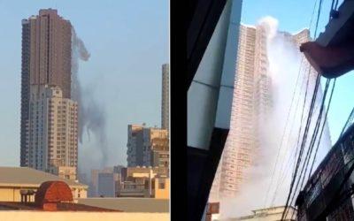 Водопад обрушивается и небоскреба Манилы