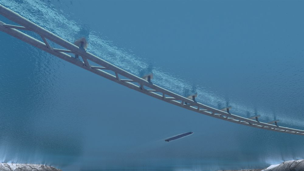Плавучий тоннель, удерживаемый понтонами