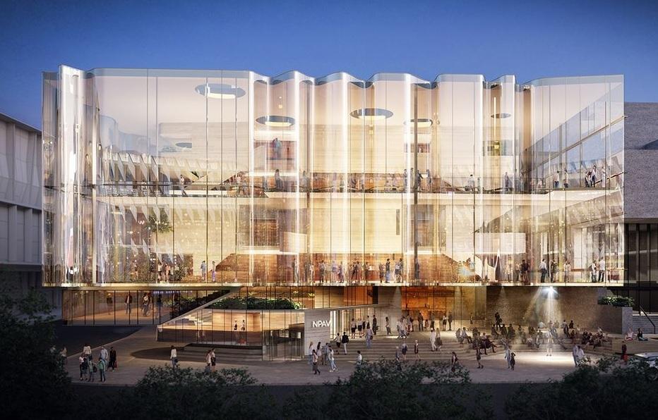 Прозрачный фасад нового театра в Брисбене