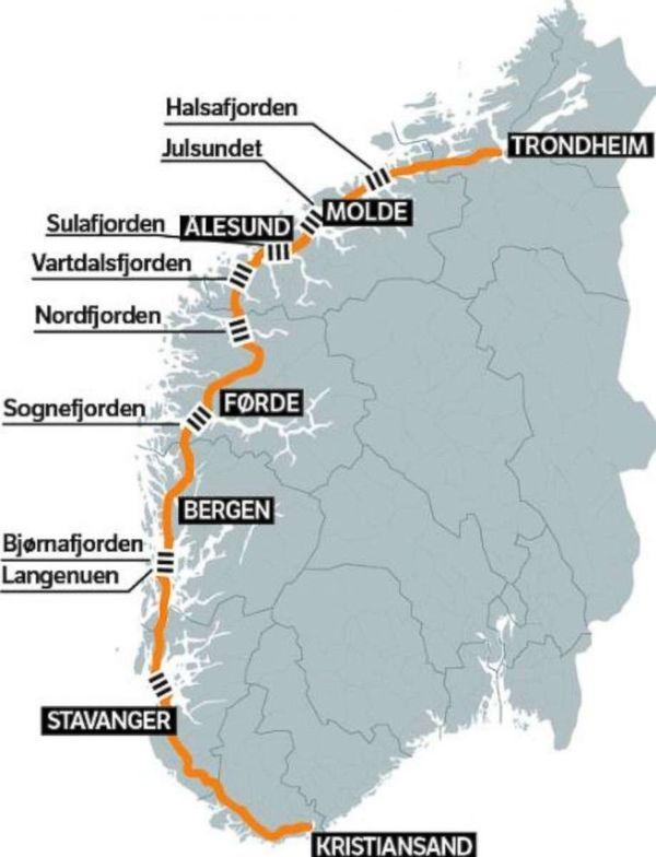 Трасса Е39 в Норвегии в настоящее время имеет 7 паромных переправ