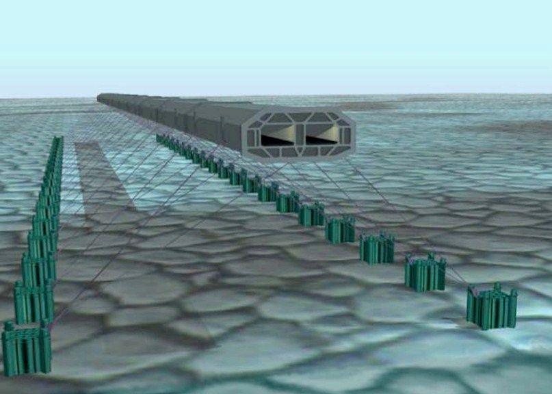 Моделирование плавучего тоннеля в Италии