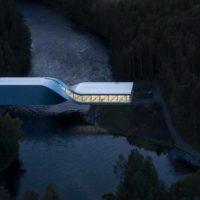 Здание-мост, закрученное на 90 градусов