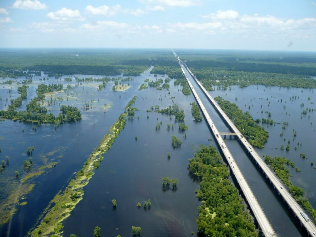 Мэнчек Свамп - мост над болотами Луизианы
