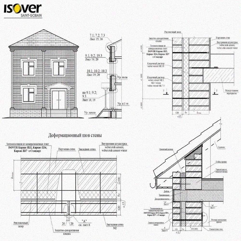 Технические решения Isover Saint-Gobain по устройству стен, полов, перекрытий и крыш