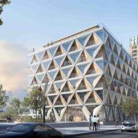 «Безотходное» здание из гибридной древесины в Дюссельдорфе
