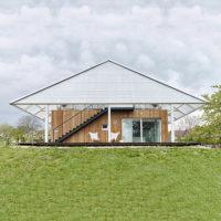 Дом с теплицей на крыше