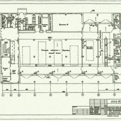 ТП 416-6-29.12.88 Пожарное депо на 6 автомобилей без жилых помещений (с железобетонным каркасом и панельными стенами)