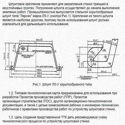 Производство работ по креплению стен траншеи металлическим корытообразным шпунтом типа Ларсен марки Л5-У