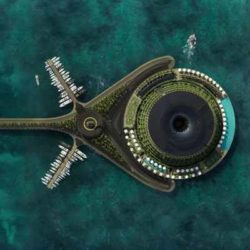 Вращающийся плавучий отель, вырабатывающий электричество