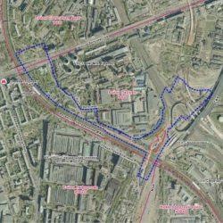 Определение границ участка для размещения снегосплавных пунктов на канализационных коллекторах