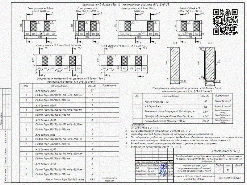 Примеры решений по усилению железобетонных конструкций